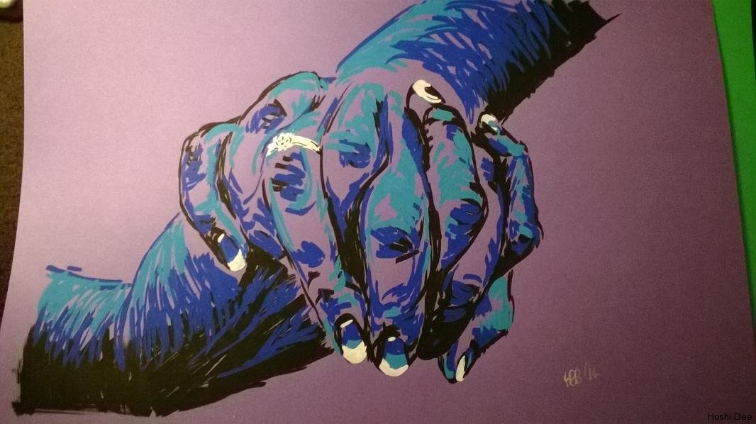 hands clasped blue